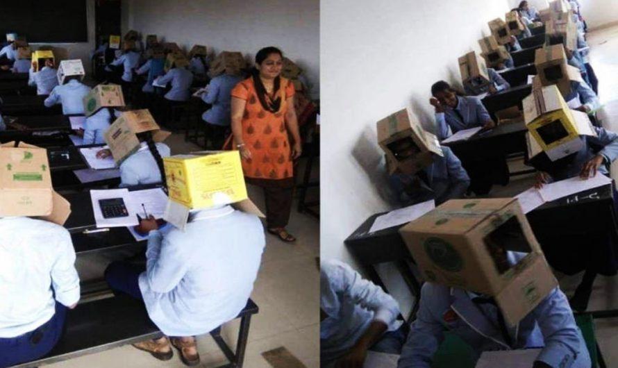 ¡NUEVA MANERA DE EVITAR COPIAR EN UN EXAMEN! Profesores colocan cajas de cartón en la cabeza de los estudiantes | NOTICIA VIRAL